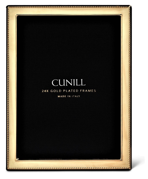 Cunill 'Bead' 4x6 Engravable Gold Plated Picture Frame