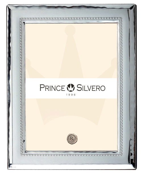 Engravable 'Rhombus' 5x7 Sterling Silver Overlay Picture Frame