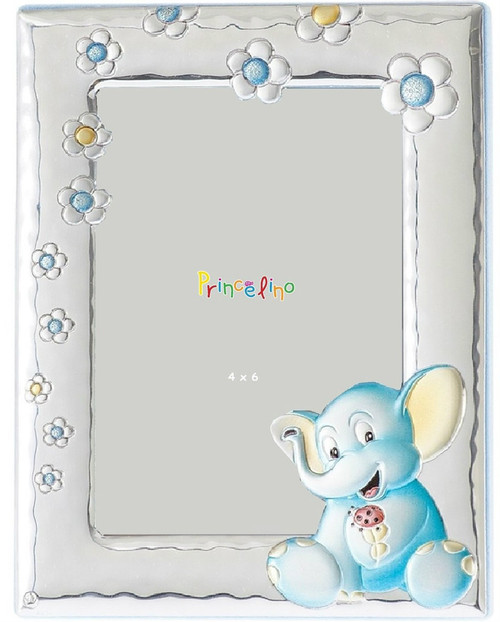 Engravable 'Blue Elephant' 4x6 Sterling Silver Overlay Baby Frame