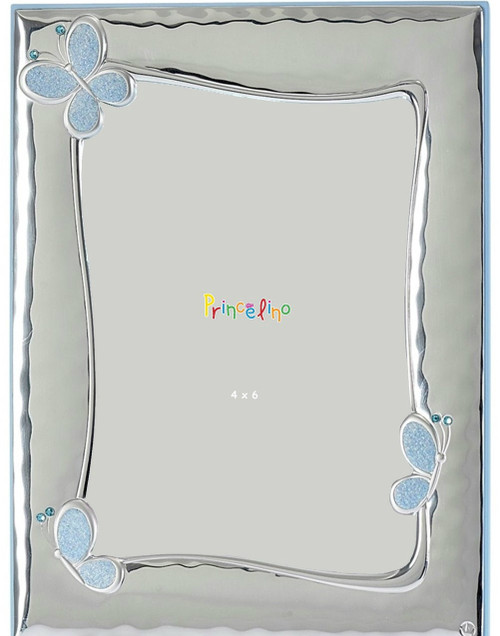 Engravable 'Blue Butterfly' 4x6 Sterling Silver Overlay  Baby Frame