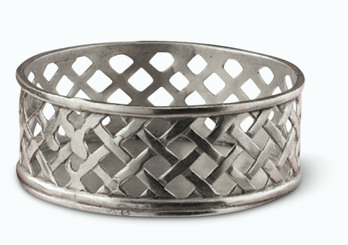 Pewter Weave Bottle Coaster Diameter 3.7 inches