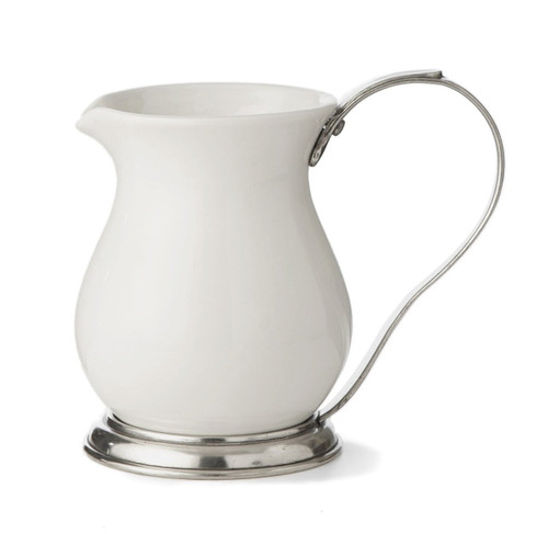 PEWTER ITALIA Florentine Porcelain Pitcher Height 6.7 inches