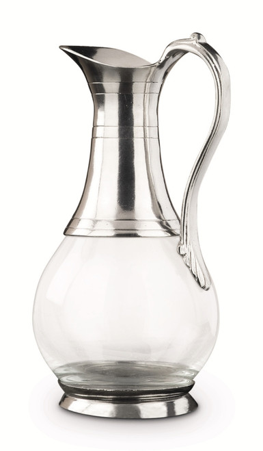 Roma Glass/Pewter Pitcher H:10