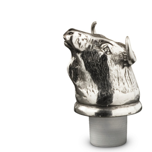 Pewter Bull Bottle Stopper Height 3 inches