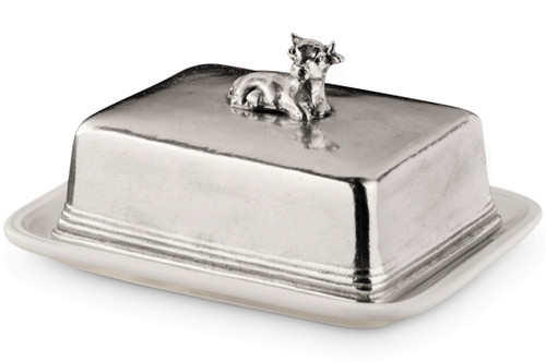 Cow Porcelain and Pewter Butter Dish