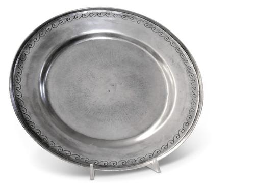 "'Crest' Pewter Platter Dia: 13"""