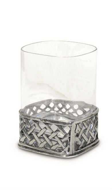 Pewter Weave Drink Glass Height 4 inches
