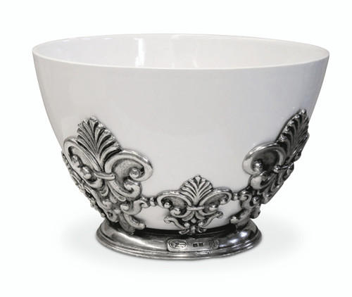 PEWTER ITALIA Florentine Porcelain Bowl Diameter 11 inches