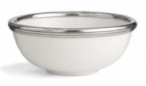 Porcelain and Pewter Bowl Diameter 7 inches