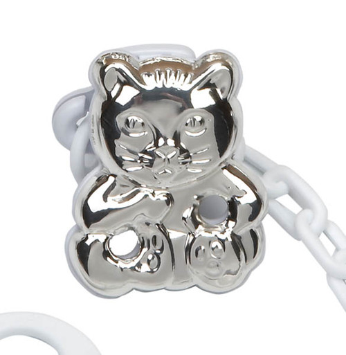 'Cat' Sterling Silver Baby Pacifier Clip