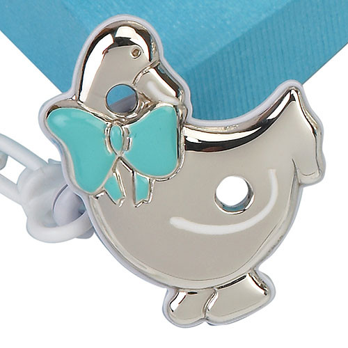 Engravable 'Duck' Sterling Silver Baby Pacifier Clip