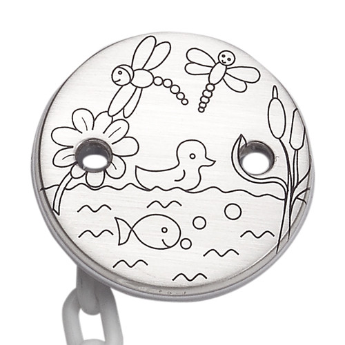 'Lil' Pond' Sterling Silver Baby Pacifier Clip
