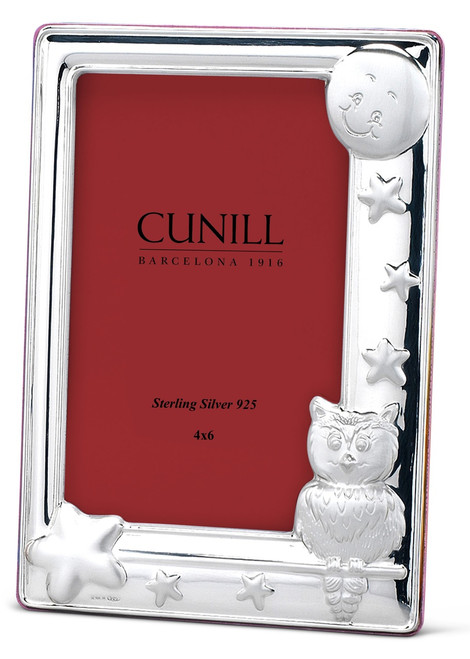 Engravable 'Owl' 4x6 Sterling Silver Picture Frame (Pink Back)