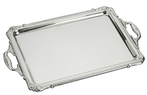 "Sterling Silver Handled Rectangular Tray (10"" x 6.5"")"