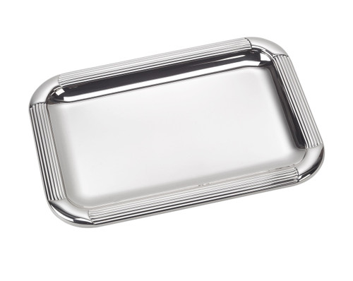 "Sterling Silver Striped Tray (8.5"" x 6.5"")"