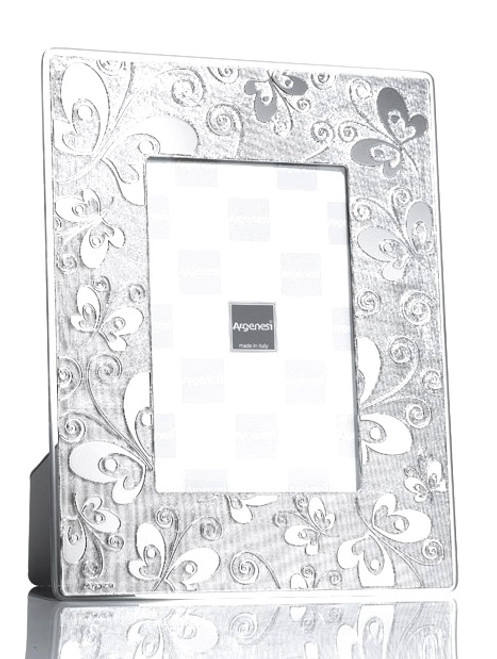 ARGENESI 999 Silver/Glass 'Butterfly' 4x6 Picture Frame
