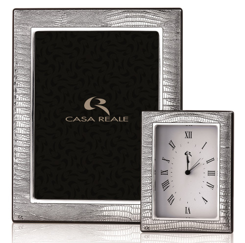Casa Reale Sterling Silver 'Leather' 4x6 Picture Frame