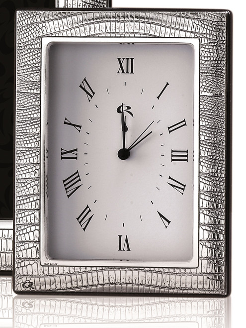 Casa Reale Sterling Silver 'Leather' 4x6 Clock