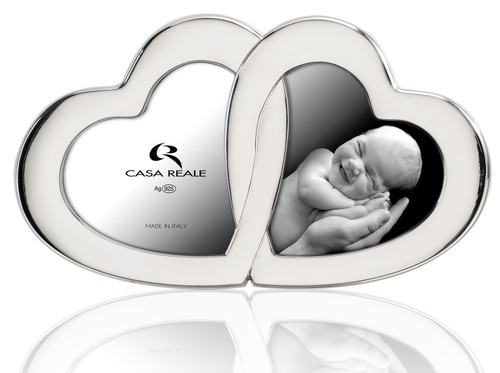 Casa Reale Sterling Silver Double 4x5 Heart Frame