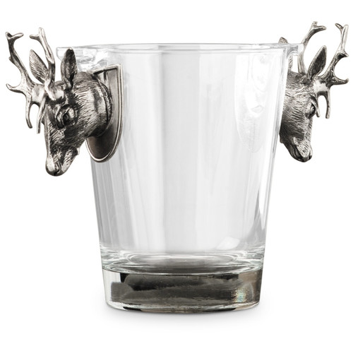 Deer 6.5 inch Tall Pewter Handle Ice Bucket