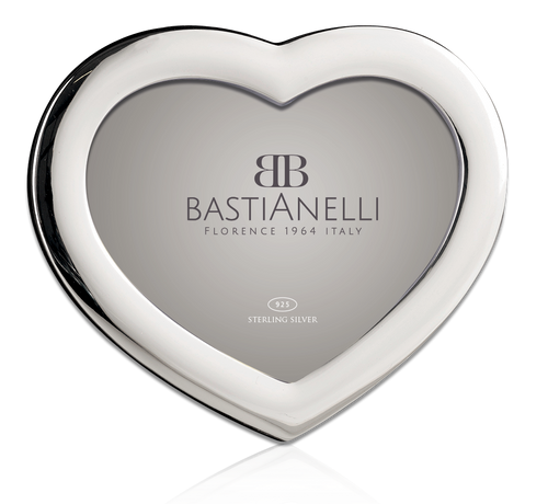 Engravable Bastianelli 'Plain Cuore' 4x6 Sterling Silver Picture Frame