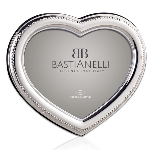 Bastianelli 'Beaded Cuore' 4x6 Sterling Silver Picture Frame