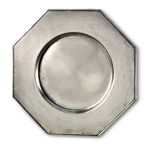 'Octogan' Pewter Platter Diameter 13 inches