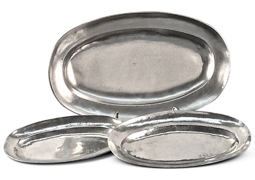 'Oval' Pewter Platter Set of 3