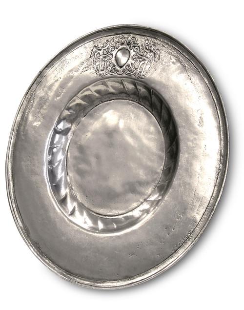 """'Round' Pewter Dish Platter Dia: 13"""""""