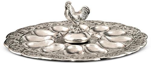 """'Rooster'Egg Serving Platter Dia: 10.5"""""""