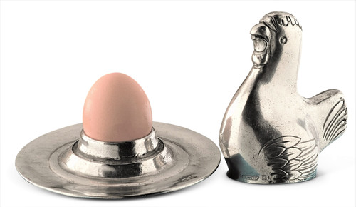 Hen Pewter Egg Holder