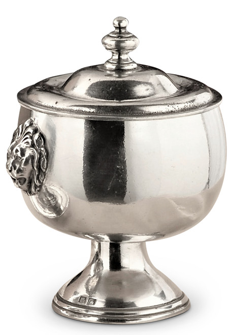 Lion Head Footed Pewter Bowl with Lid