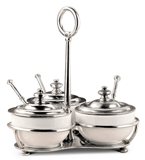 Porcelain and Pewter 3 Bowl Condiment Caddy