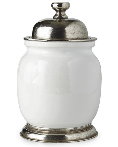 """Porcelain and Pewter 8.5"""" Tall Canister with Lid"""