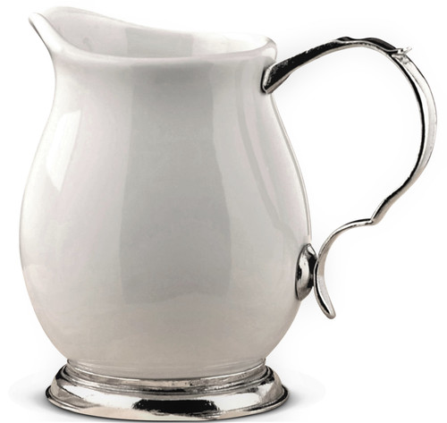 "Porcelain and Pewter 7"" Pitcher"