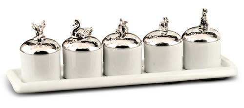 Porcelain and Pewter Animal Lid 6 Piece Condiment Set