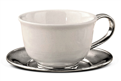 Ceramic and Pewter Tea Cup and Saucer