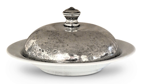 Ceramic Serving Bowl with Pewter Warming Lid