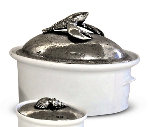Lobster Ceramic and Pewter Pot with Lid