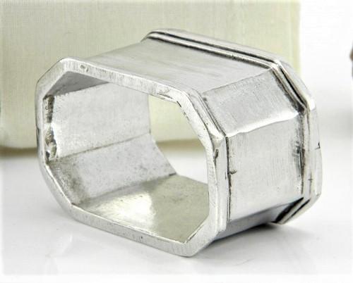Engravable Hexagonal Pewter Personalized Napkin Ring