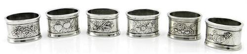 Cavagnini Vintage Fruit Pewter Engravable Napkin Rings Set of 6