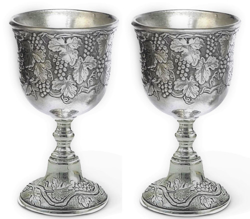 "Cavagnini Vineyard Set of 2 5"" Pewter Chalice"