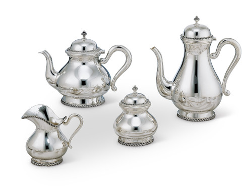 Bicama Queen Anne Sterling Silver Coffee-Tea Service with Base