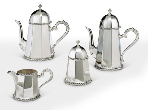 Bicama Octagonal Queen Anne Sterling Silver Coffee-Tea Service