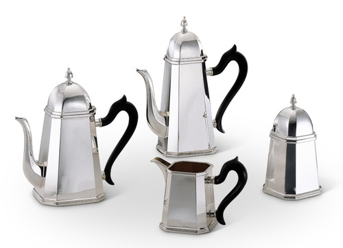 Bicama Milano Octagonal Silver Plated Coffee-Tea Services with Wood Handles