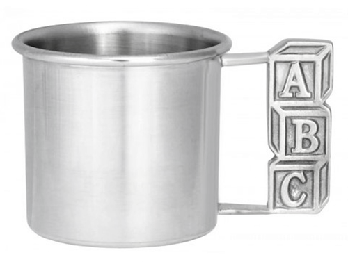 Engravable Woodbury Pewter 'ABC' Pewter Baby Cup