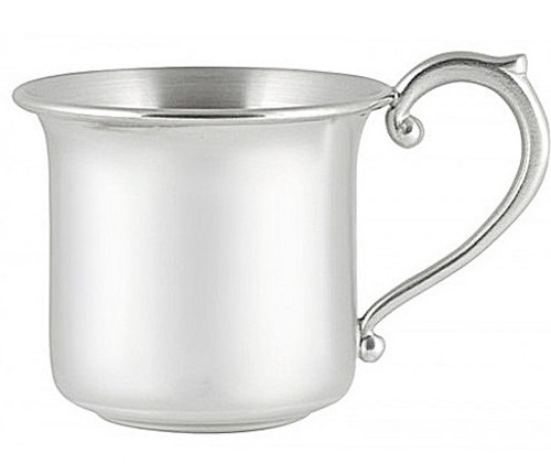 Engravable Woodbury Pewter 'Cape Cod' Fancy Handle Pewter Baby Cup