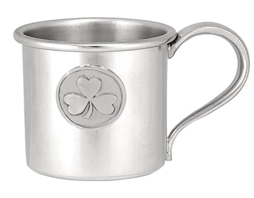Engravable Woodbury Pewter '3 Leaf Clover' Pewter Baby Cup