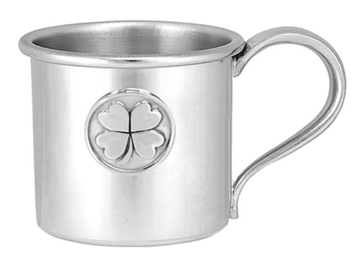 Engravable Woodbury Pewter '4 Leaf Clover' Pewter Baby Cup