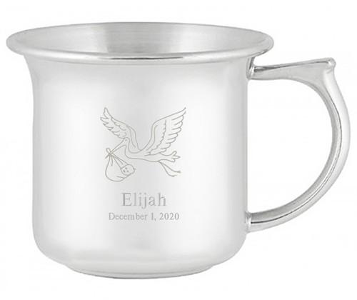 Engravable Woodbury Pewter 'Stork' Pewter Baby Cup